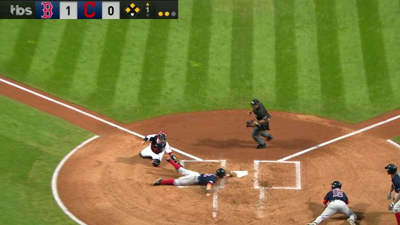 Indians challenge play at plate