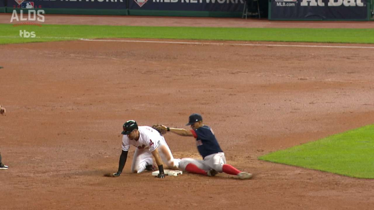 Red Sox win challenge on Chisenhall's slide