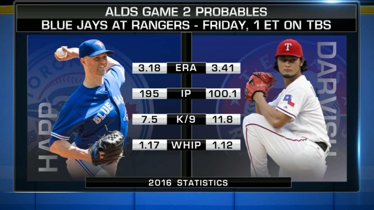 ALDS Game 2 lineups: Blue Jays vs. Rangers