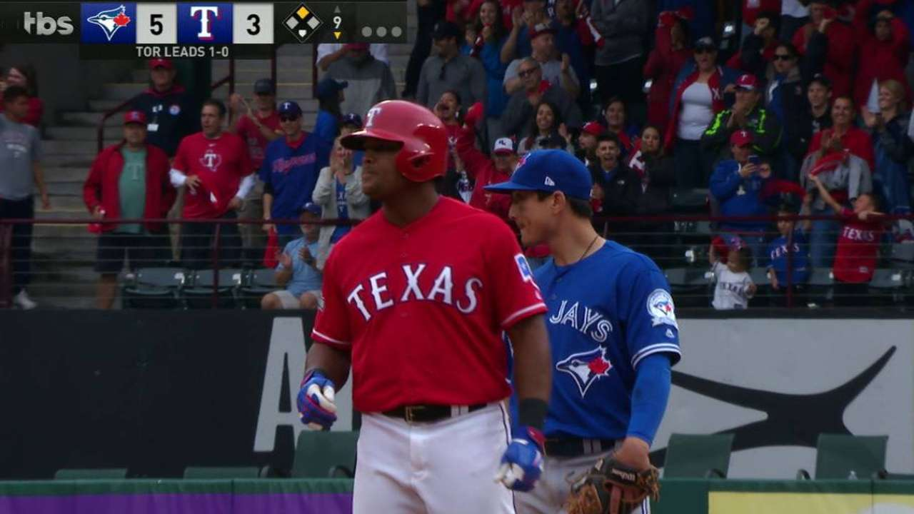 Beltre doubles off the wall