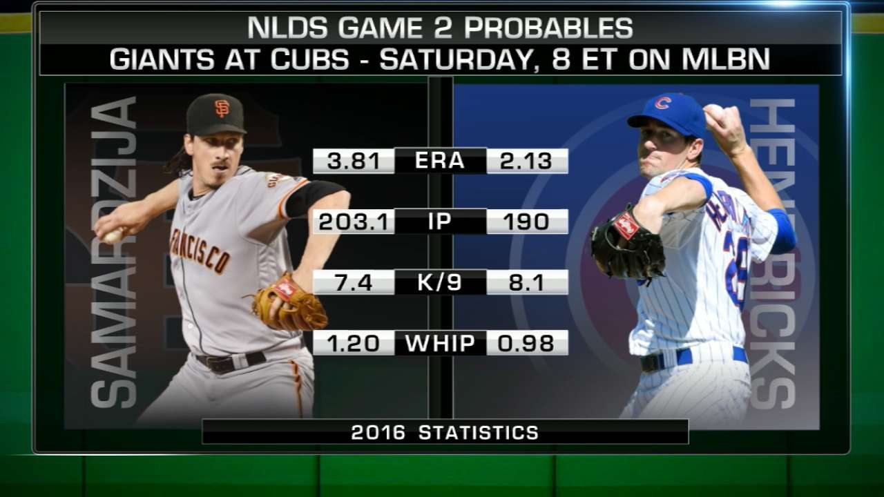 Game 2 lineups: Giants vs. Cubs on MLB Network
