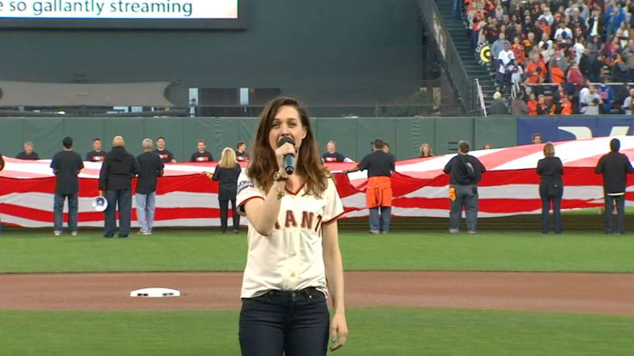Lena Hall sings national anthem