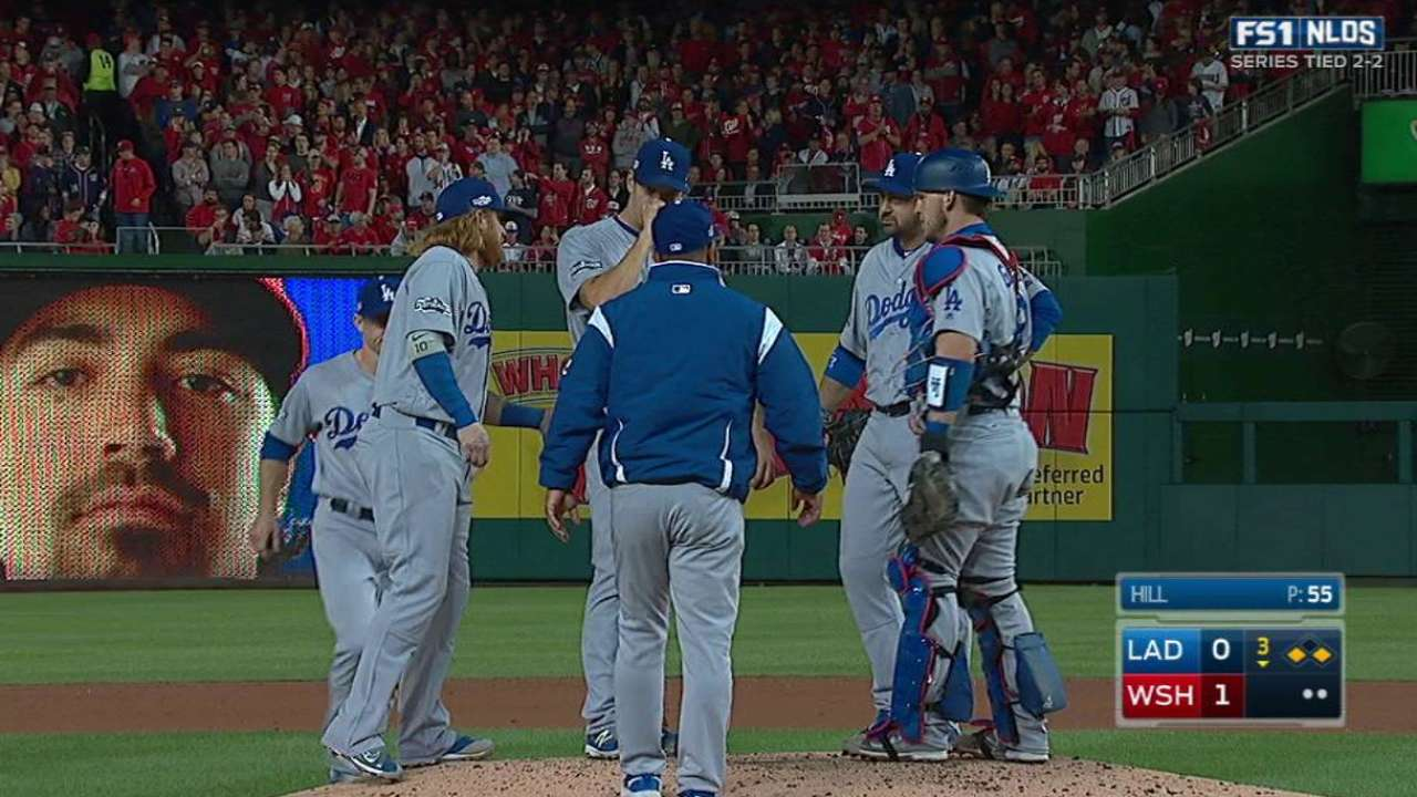 Hill's outing short but solid for Dodgers in Game 5