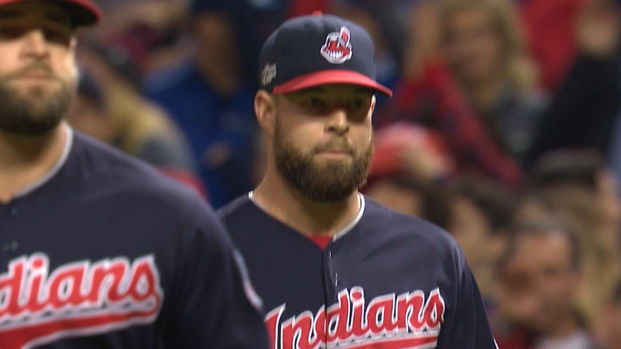 Kluber works out of early jams