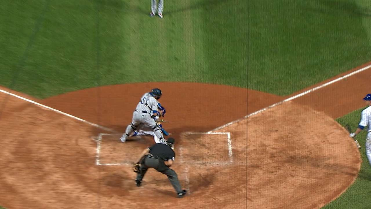 Baez on steal of home