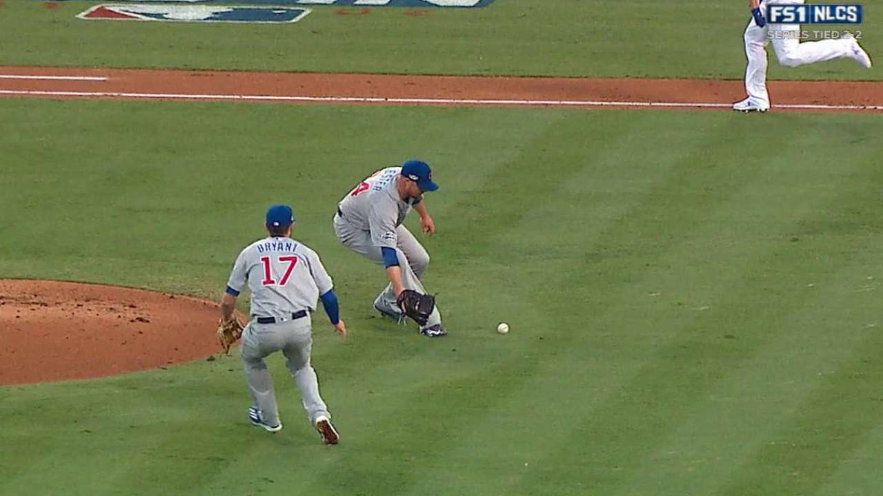 Lester bounces ball to first