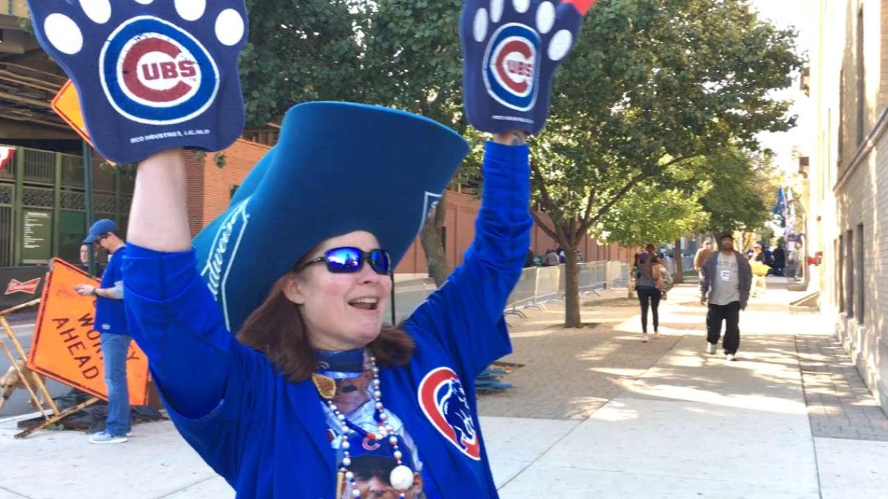 Cubs fan shows off her team gear