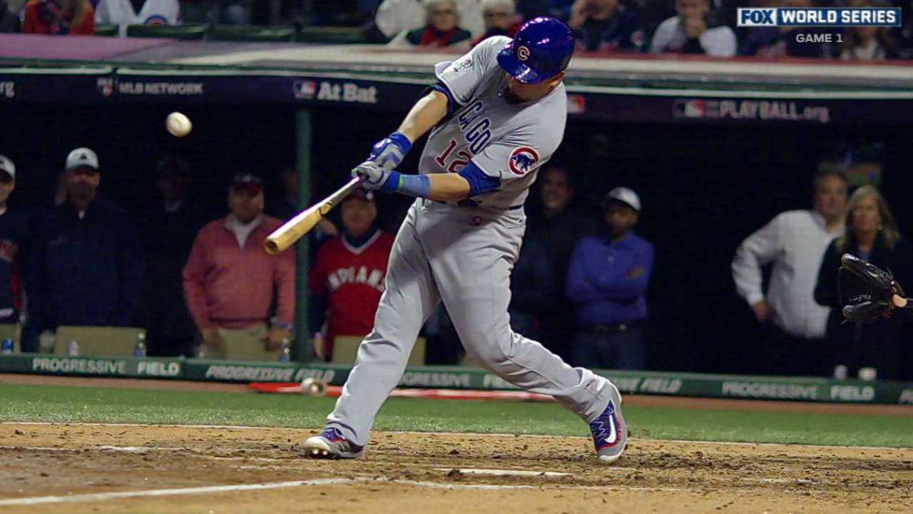 Schwarber doubles off the wall