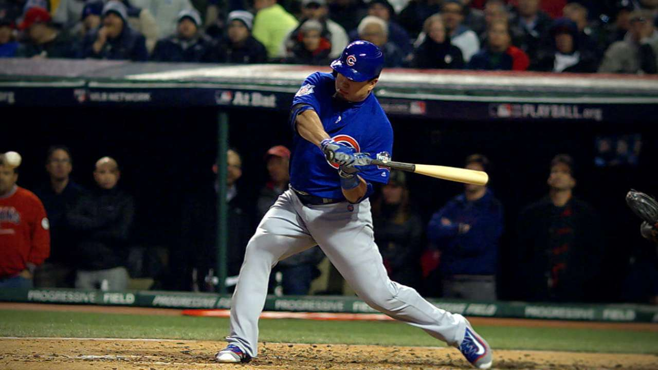 Schwarber reaches three times