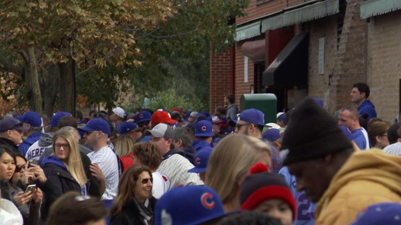 Cubs fans pack Wrigleyville