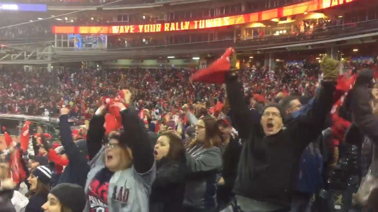 Tribe fans watch, celebrate at Progressive Field