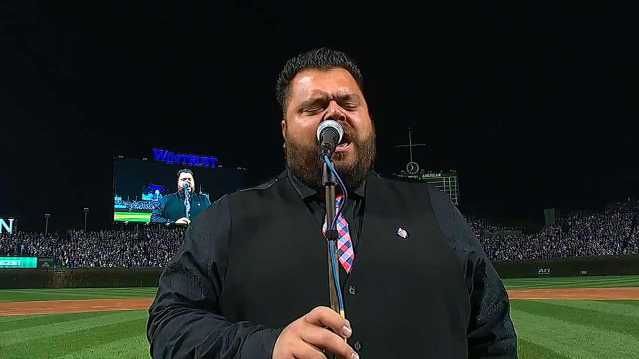 John Vincent sings anthem