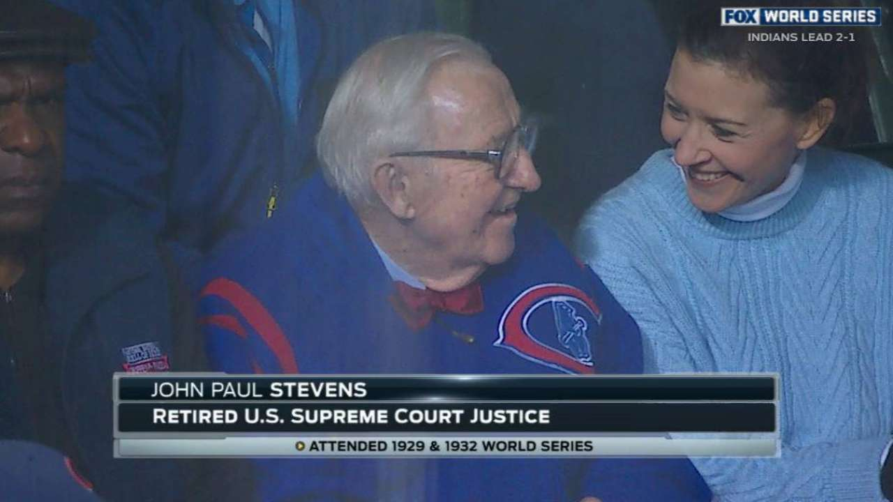 Justice Stevens takes in 3rd Cubs World Series