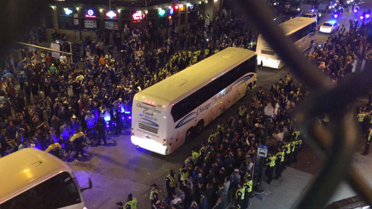 Indians buses leave Wrigley