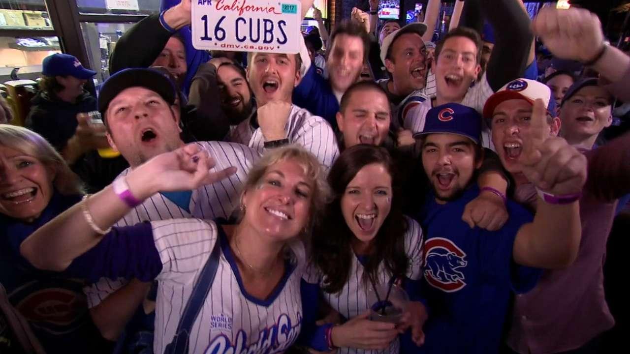 Fans sing 'Go Cubs Go!'