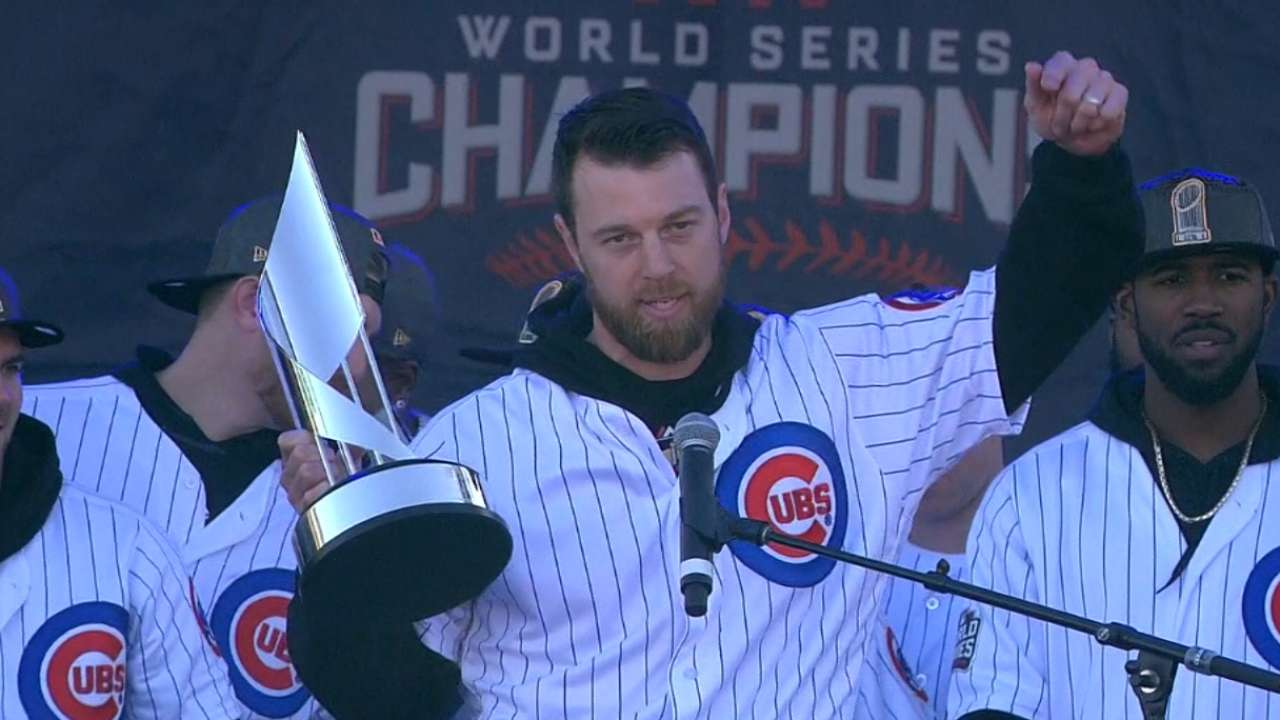 Zobrist shows off MVP trophy