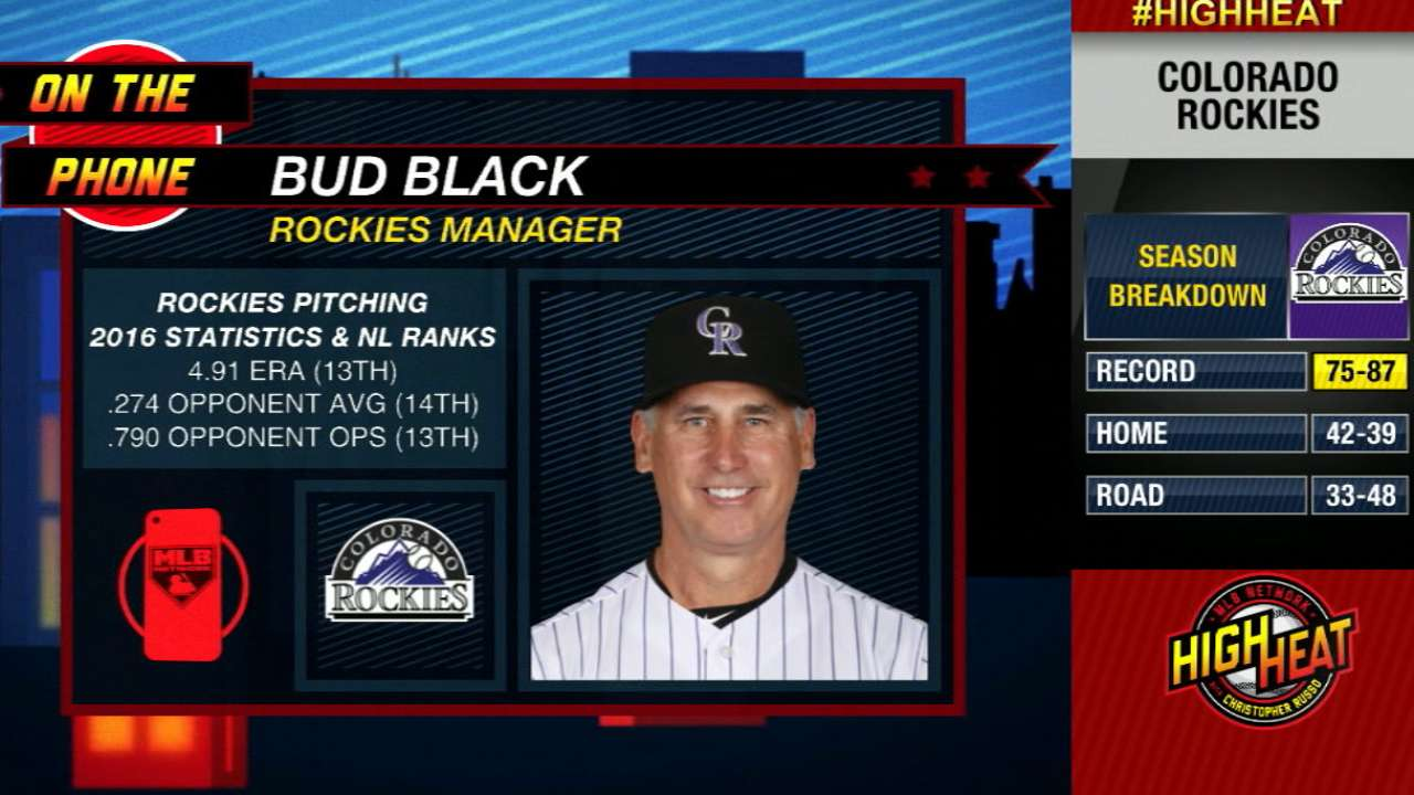 Black on young Rockies pitching