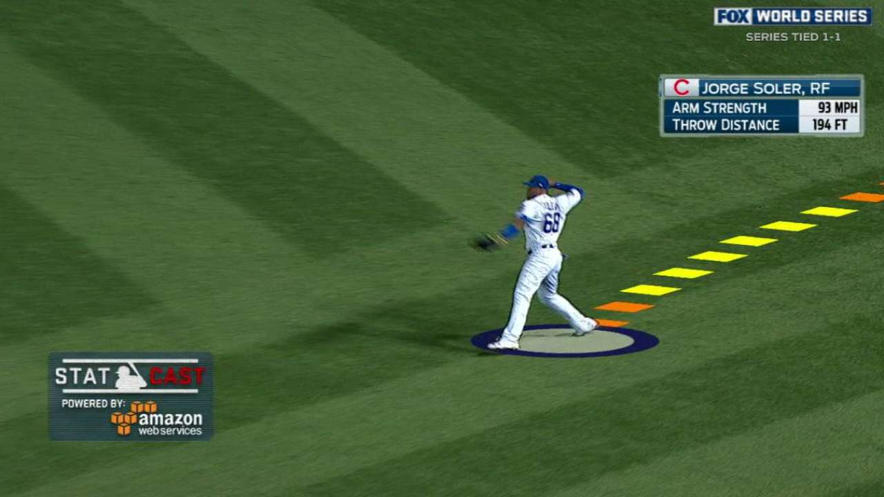 Statcast: Soler throws out Davis