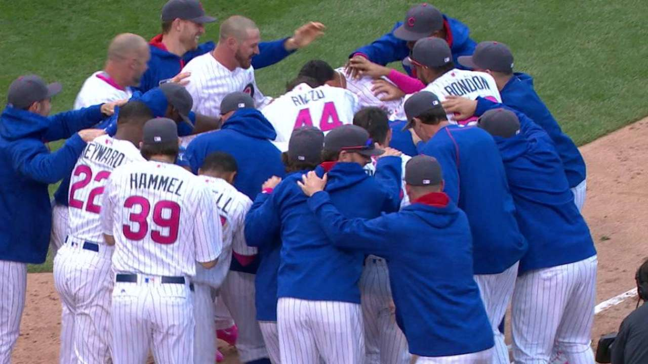 Pink power: Baez wins game with special bat