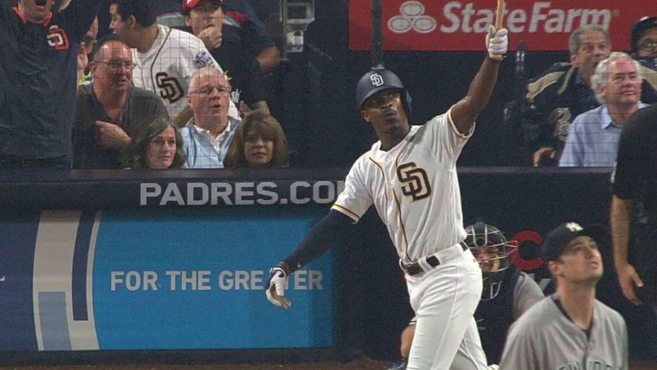 Upton belts Padres-record 3rd walk-off homer