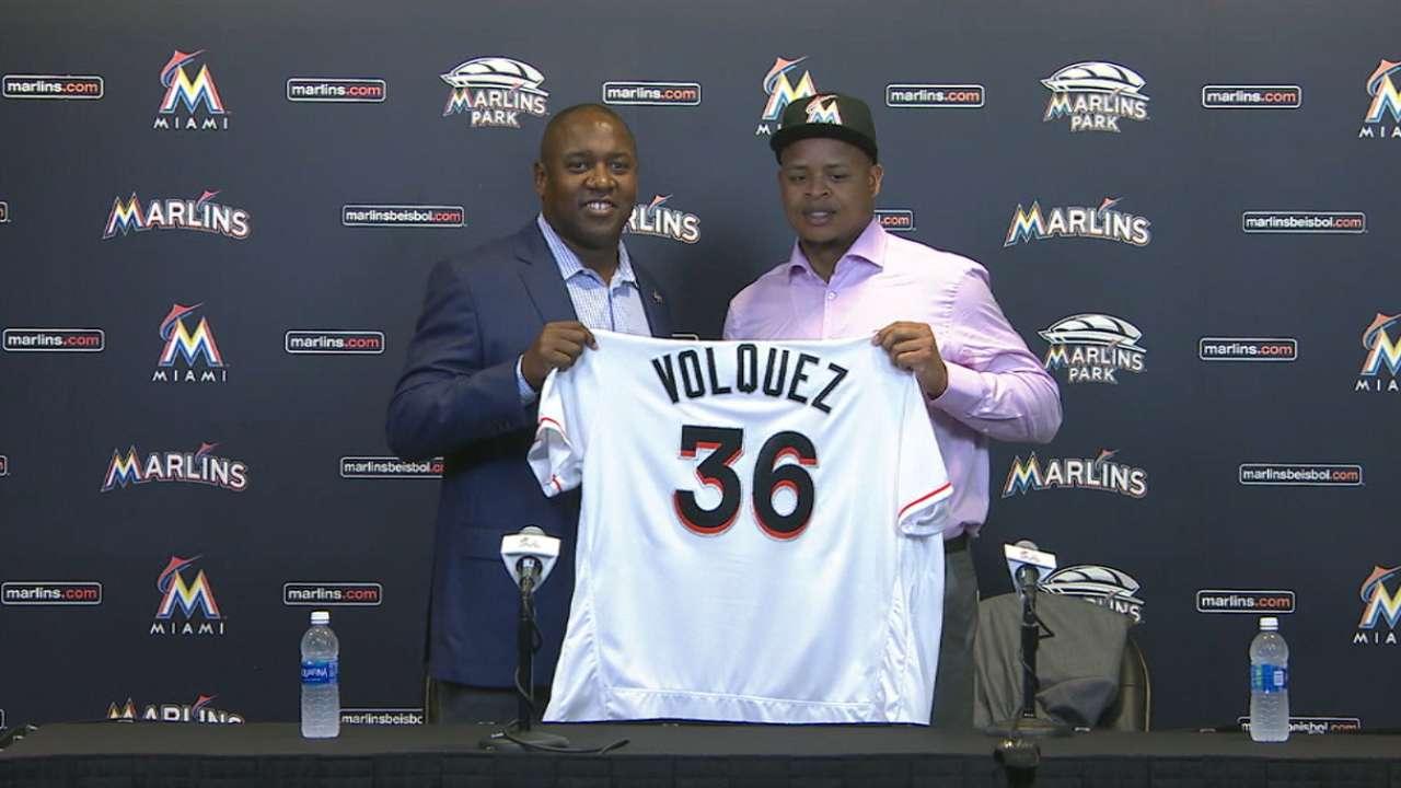 Marlins introduce Volquez