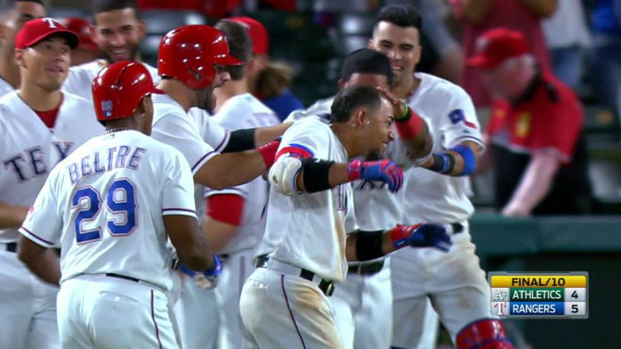 Rangers storm back in 10th, win on HBP