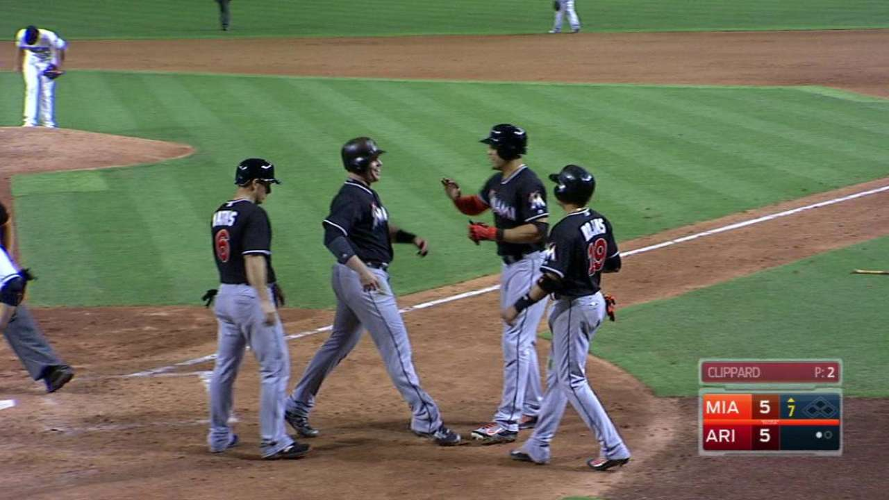 Bour's slam fuels big 7th as Fish top D-backs