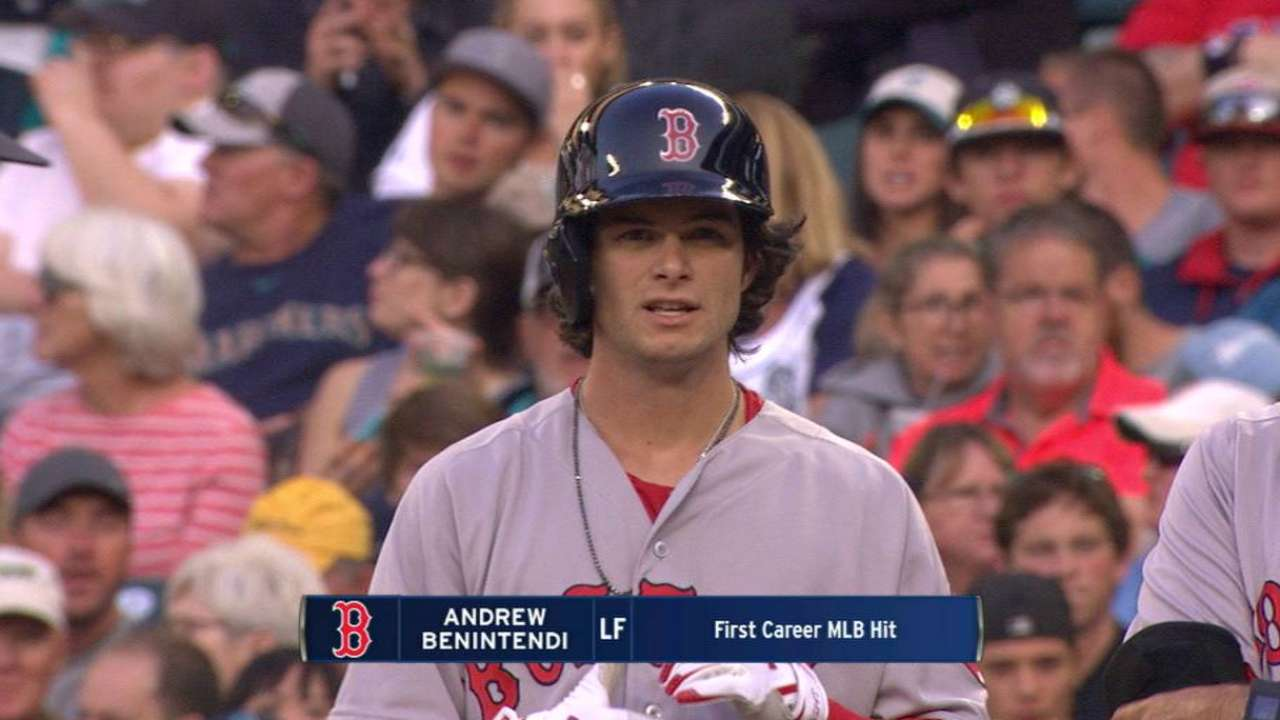 Family sees Benintendi get first two hits