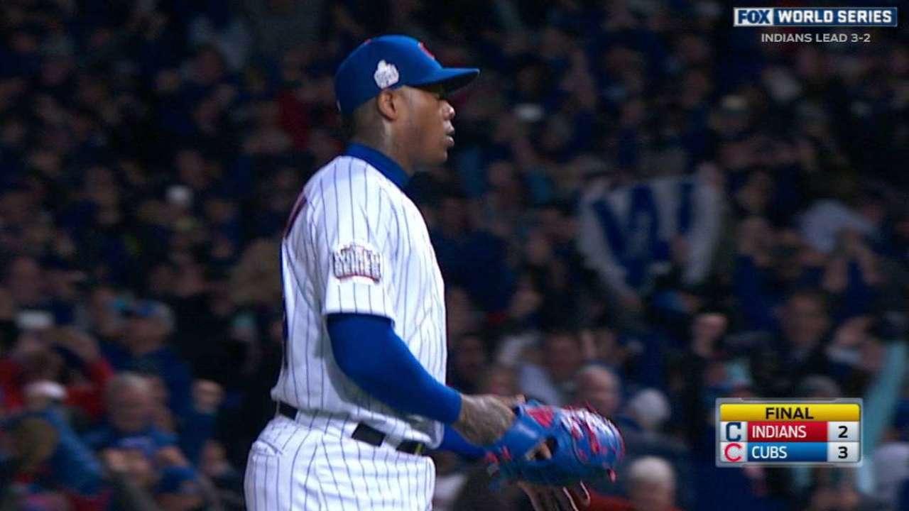 Chapman se faja y Cubs mandan la SM de regreso a Cleveland