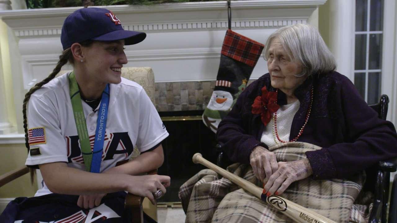 75 years apart, women's baseball ties wow