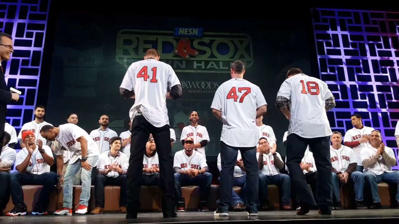 New Red Sox try on jerseys