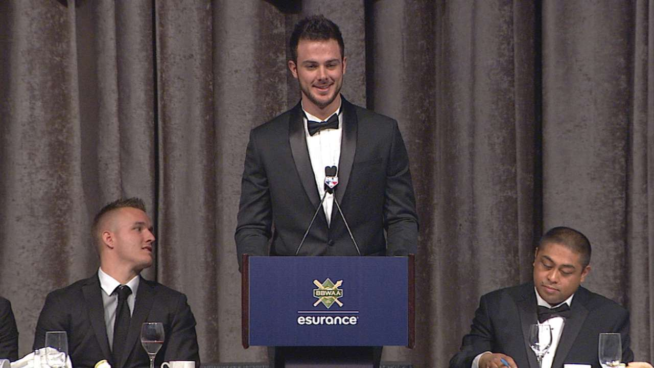 Bryant accepts NL MVP honors