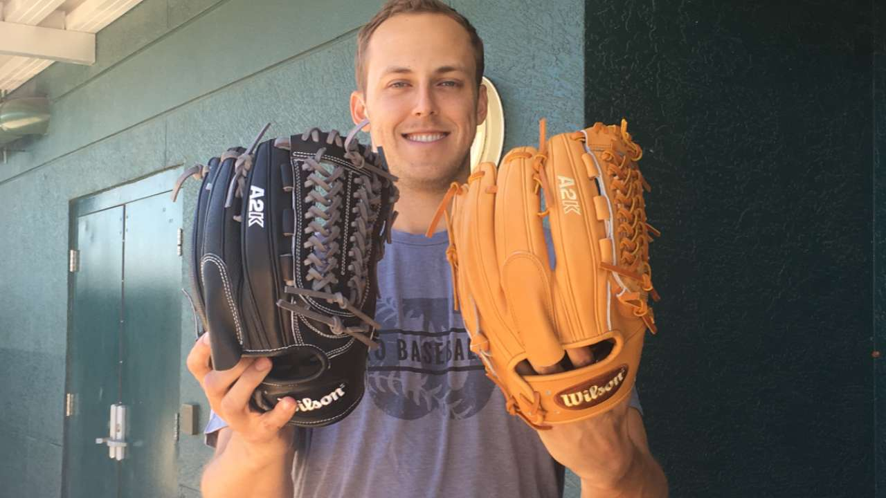 Glovely to meet you: Taillon receives his mitts