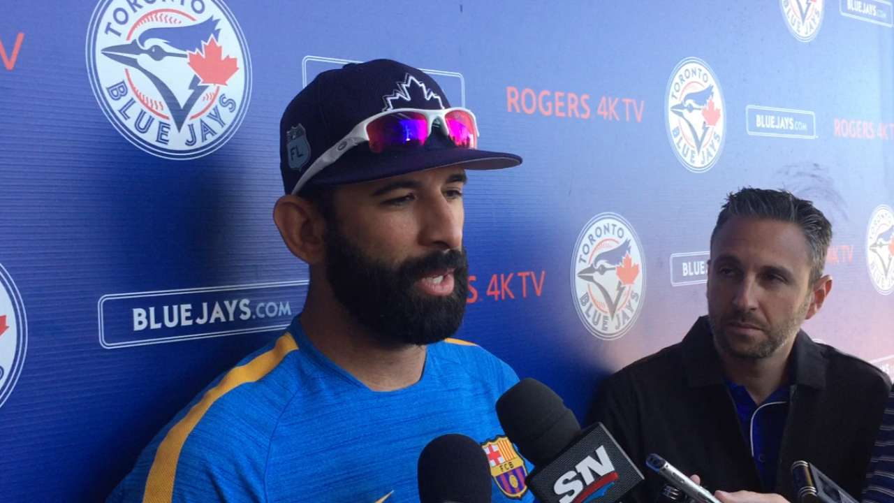 Bautista arrives at camp with same approach