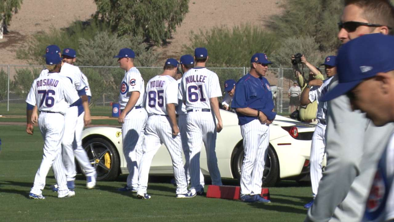 Braking news: Racecar revs up Cubs camp