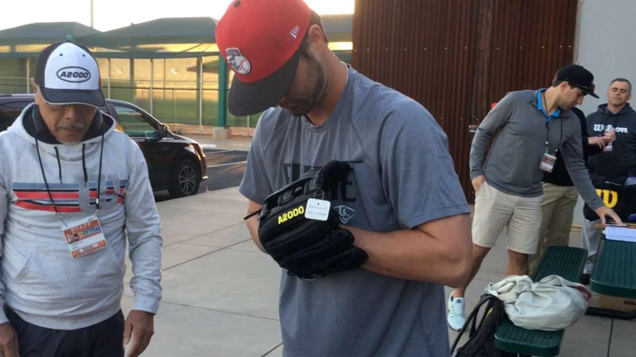 Winker on receiving his glove