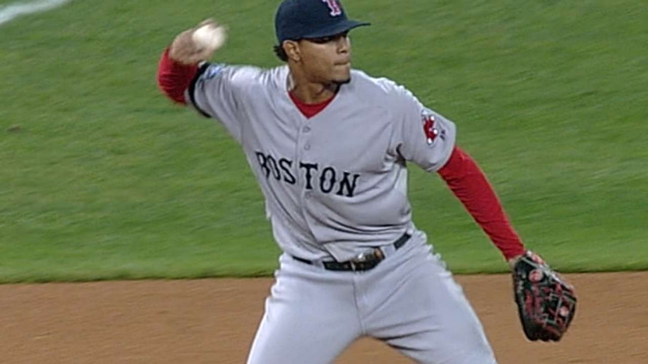 Bogaerts gets work in at temporary home at third