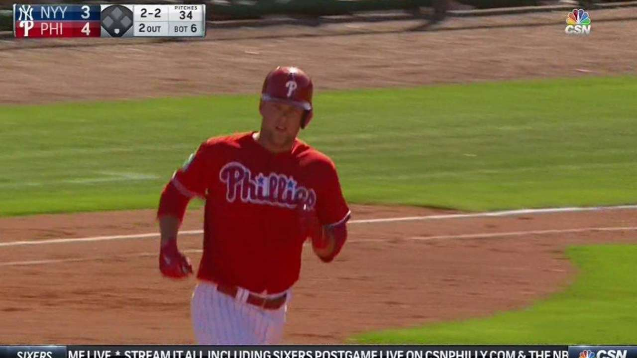 Phils impressed with Hoskins' power, approach
