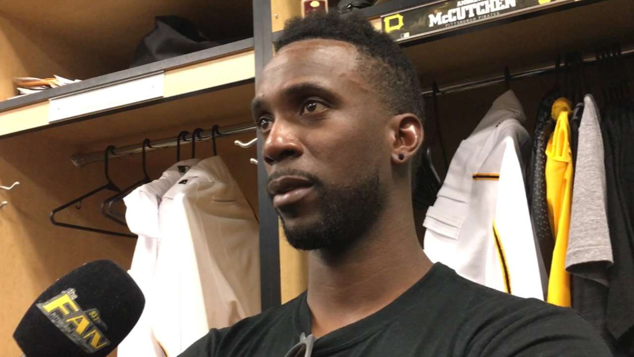 New right fielder McCutchen gets feet wet