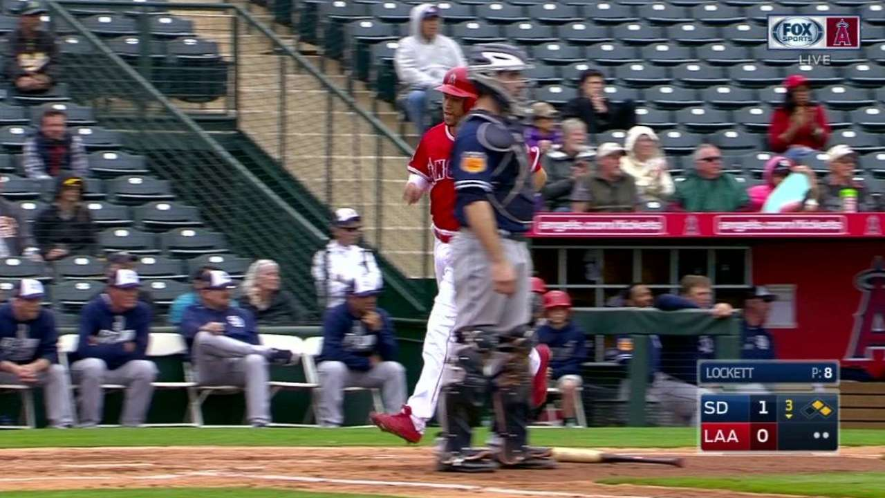 Trout walks twice in spring debut vs. Padres