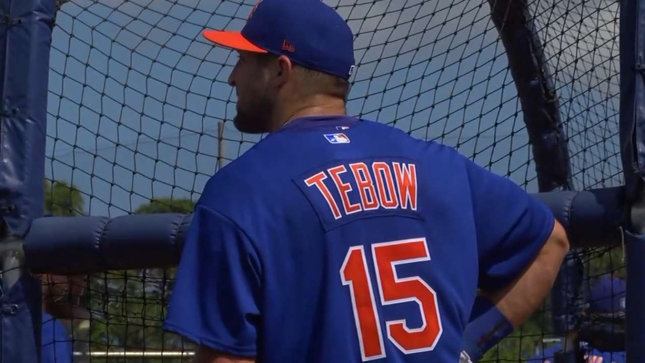 Tebow's spring journey begins with 9 BP HRs