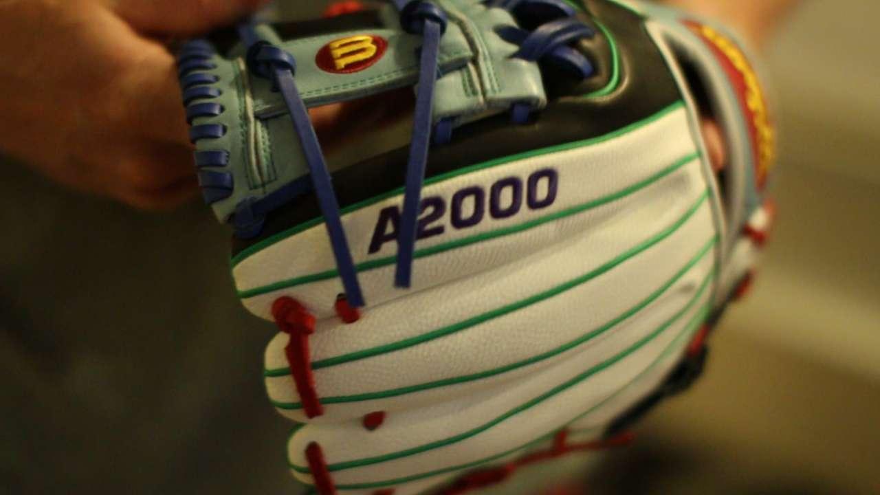 Hazelbaker gets colorful glove