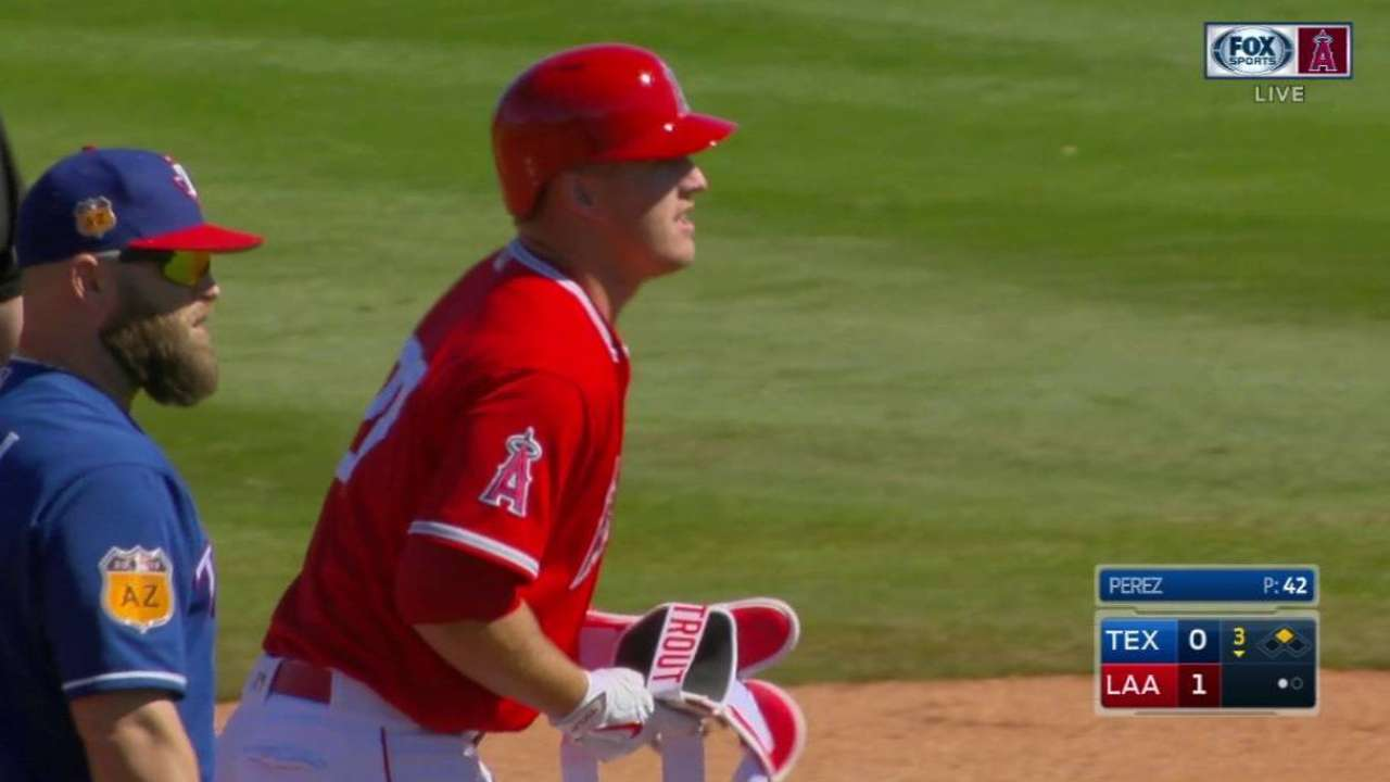 Trout's double to center