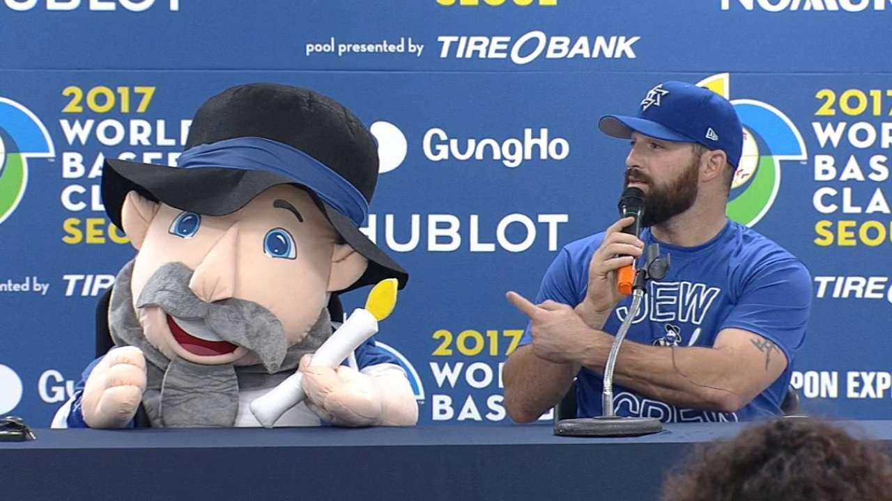 Cody Decker on Israel's mascot