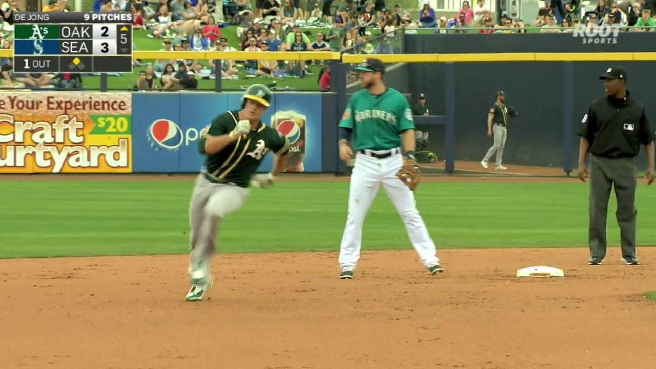 Brugman turning heads at A's camp