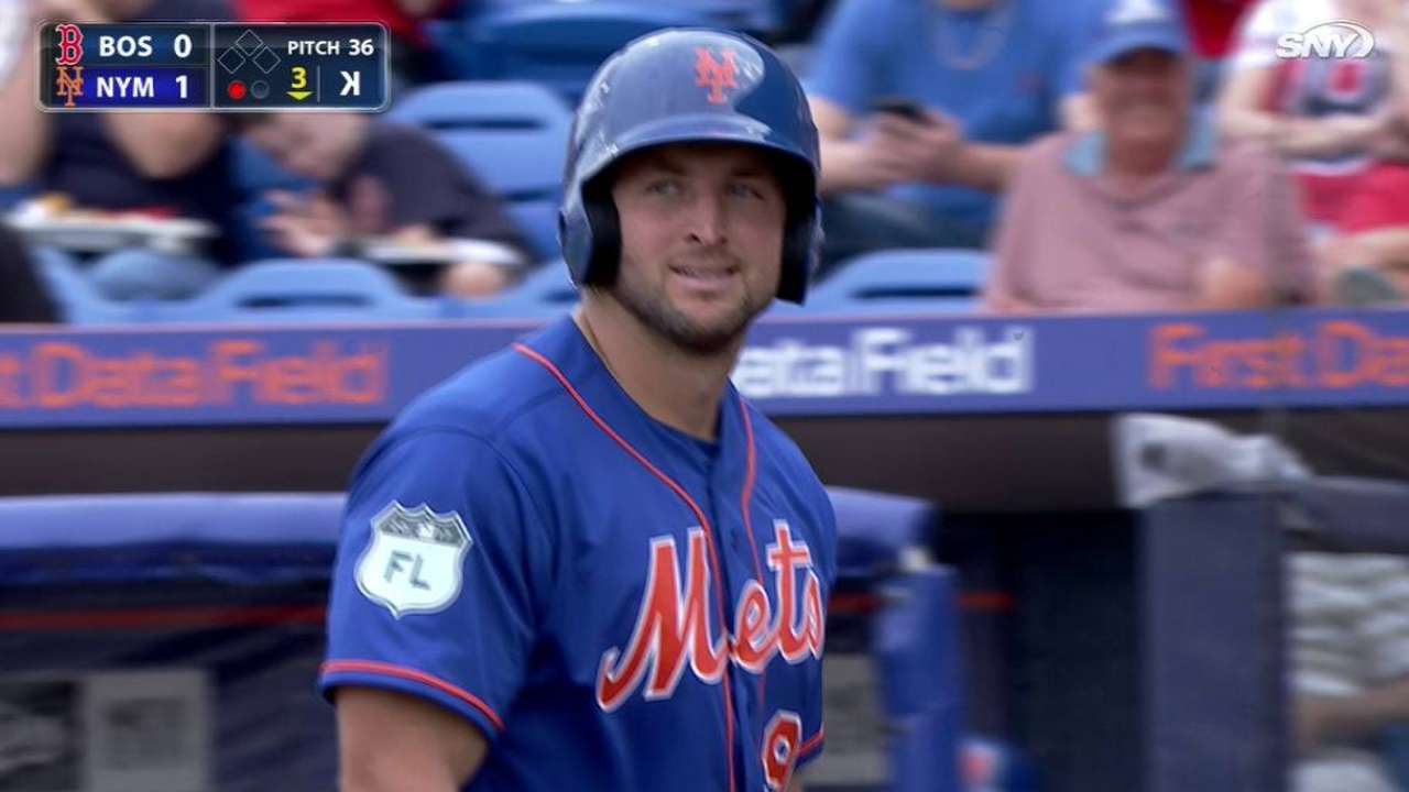 Tebow strikes out in first AB
