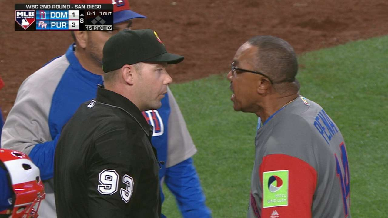Pena ejected in the 8th