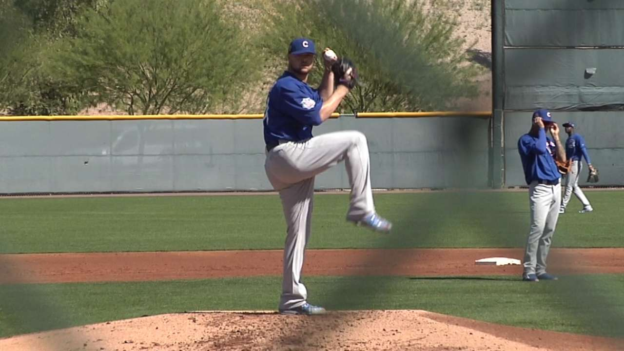 Lester gets work in during intrasquad game