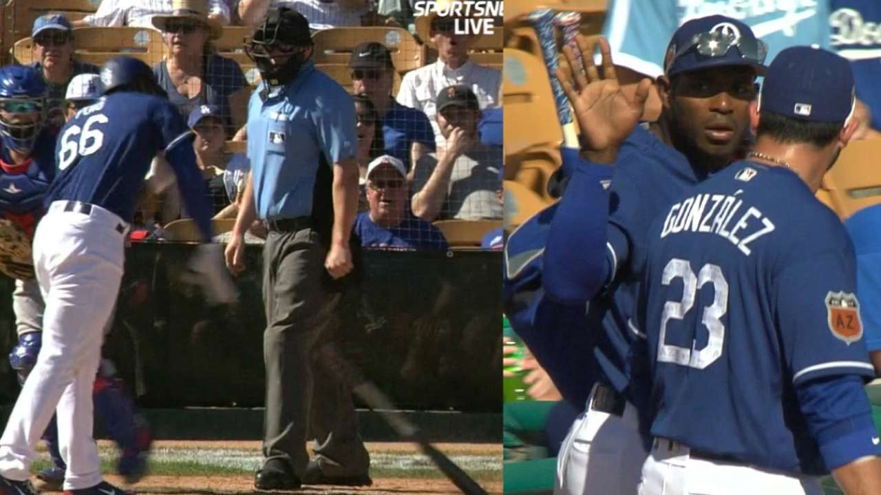 Puig ejected after slamming bat following K