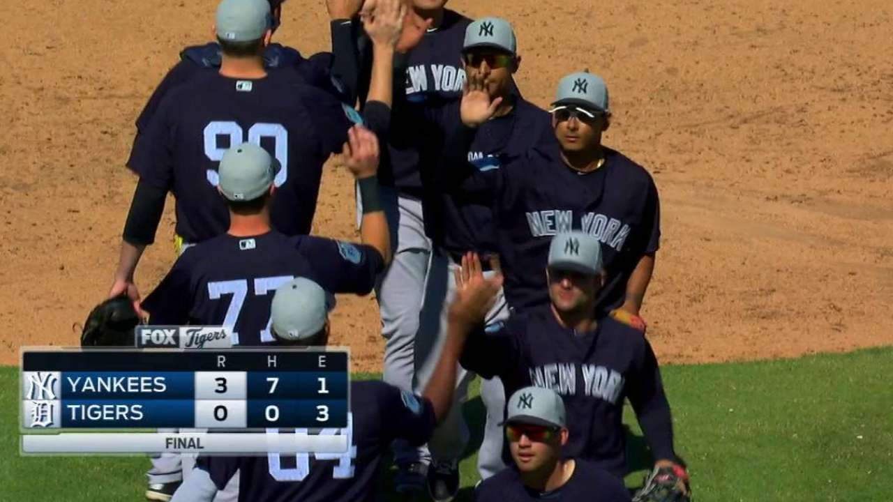 Three Yankees combine to no-hit Tigers
